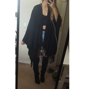 fringe boho tassel black wrap shawl